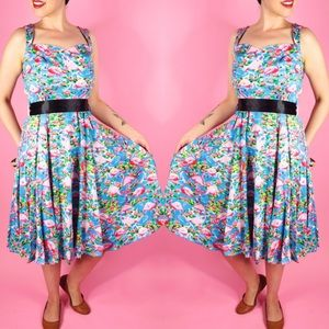 Flamingo Print Vintage Style Dress